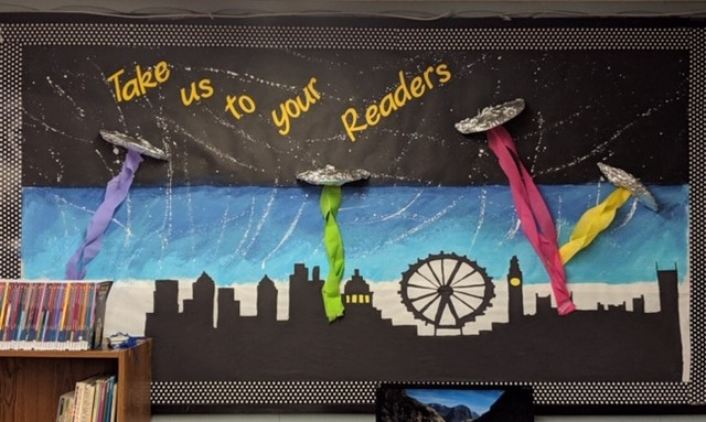 Take Us to Your Readers display at Elm Creek Township Library