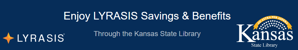 LYRASIS Savings and Benefits Through the State Library of Kansas banner